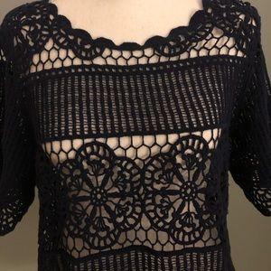Lacy navy lightweight sweater